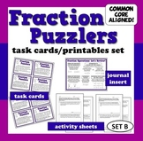 Fraction Puzzlers - fraction story problems task cards + p