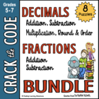 Fractions & Decimals Practice- Crack the Codes BUNDLED!