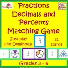 Fractions Decimals and Percents Matching Dominoes Card Game