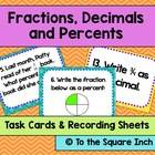 Fractions, Decimals and Percents Task Cards and Recording