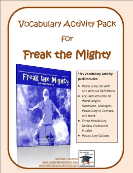 Freak the Mighty Vocabulary and Grammar Activity Pack