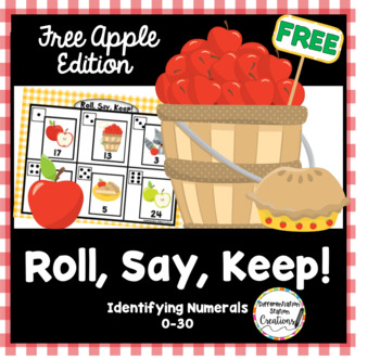 Free!  Apple Themed: Roll, Say, Keep!  Numerals 1-20