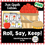 Free!  Apple Themed: Roll, Say, Keep!  Numerals 0-30