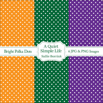 Free Bright Polka Dots Digital Papers - Personal or Commercial