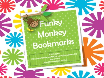 Free Funky Monkey Bookmarks