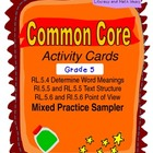 Free Grade 5 Common Core Reading Activity Cards
