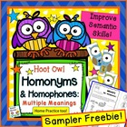 Free Hoot Owl Homonyms: Multiple Meanings - Speech Therapy