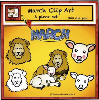 Free March Clip art for Spring featuring Lion and Lamb
