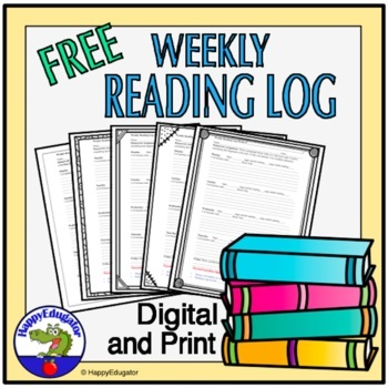 Free Reading Log - Weekly Homework or Classwork Sheet