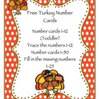 Free Turkey Number Cards