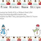Free Winter Name Strips