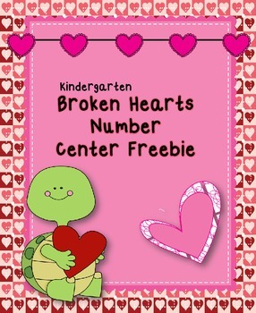 Freebie Broken Hearts Number Center for Kindergarten