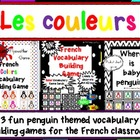 French Colors Vocabulary Games -- Penguin Theme