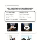 French Top Ten Classroom Survival Phrases Worksheet