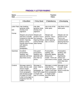 Friendly Letter Rubric (student-friendly version)