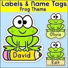 Frog Theme Classroom  - Name Tags and Labels - Editable -