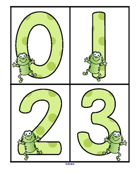 Frogs Theme - Set of Large Numbers 0-20 -FREE