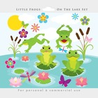 Frogs clipart - cute frogs clip art, whimsical, dragonflie