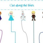 Frozen themed Cutting with Scissors practice homeschool da