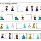 Frozen themed Fill in the Missing Pattern homeschool dayca