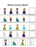 Frozen themed What Comes Next homeschool daycare learning game.