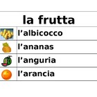 Frutta e Verdura (Fruits and vegetables in Italian) word wall