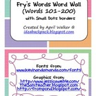 Fry's Word Wall Cards (Words 101-200)  with Smaller Colorful Dots