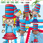 Funny Hat Stick Kids - Clipart for Math and Teaching
