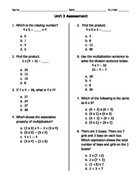 GA Common Core Math Unit 3 Assessment