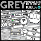 GREY CHEVRON PRINTS Classroom Color Scheme/Theme EDITABLE
