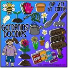 Gardening Doodles (BW and full-color PNG images)