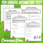 Geometry 4th Grade Assessment - CCSS