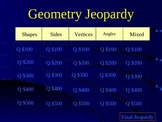 Geometry Jeopardy-Grades 2-3- Vocabulary Enriched