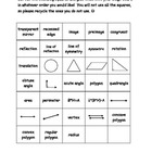 Geometry, Reflection, Symmetry Bingo