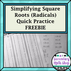 Geometry Simplifying Square Roots Chart and Worksheet Freebie!