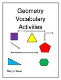 Geometry Vocabulary Activities