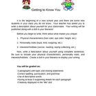 Getting to Know You Essay & Doll