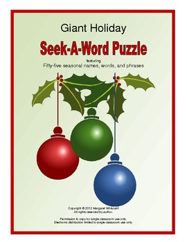Giant Holiday Seek-A-Word Puzzle