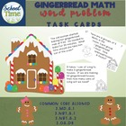 Gingerbread Math -  24 Task Cards in Black and White
