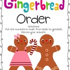 Gingerbread Order Math Center-  Least to Greast/Greatest to Least