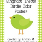 Gingham Theme Bird Color Posters