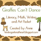Giraffes Can't Dance Literacy, Math, Writing and Art Packet