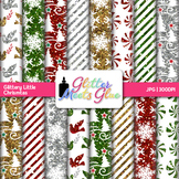Glittery Little Christmas Holiday Digital Background Scrap