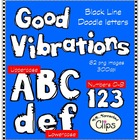 Good Vibrations Doodle Letters and Numbers - Line Art