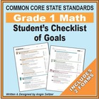 Grade 1 Student's 2-Page Checklist of Math Objectives for CCSS