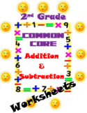 Addition and Subtraction Worksheets-2nd Grade CCSS Aligned