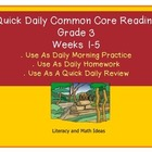 Grade 3 Daily Common Core Reading Practice Weeks 1-5 {LMI}
