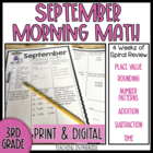 Grade 3 Morning Math Review: September