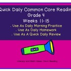 Grade 4 Daily Common Core Reading Practice Weeks 11-15 {LMI}