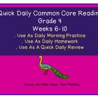 Grade 4 Daily Common Core Reading Practice Weeks 6-11 {LMI}